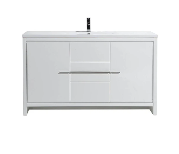 "Eviva Gracie 60"" Gloss White Single Sink Bathroom Vanity with/ White Integrated Top EVVN765-60WH-SS"