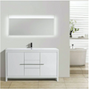 "Image of Eviva Gracie 60"" Gloss White Single Sink Bathroom Vanity with/ White Integrated Top EVVN765-60WH-SS"