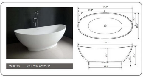 "Legion Furniture 70.7"" White Matt Solid Surface Tub, No Faucet WJ8620-W"