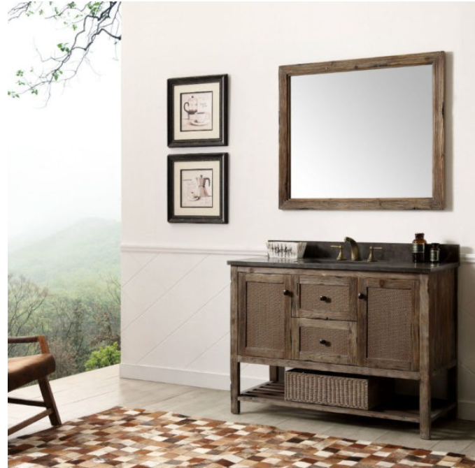 "Legion Furniture 48"" Solid Wood Vanity in Brown with Moon Stone Top, No Faucet WH5148-BR"