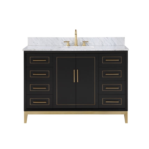 "BemmaDesign Gracie 48"" Bathroom Vanity, Black with Carrara Marble top V-GR48SFM-04BS-M03S-3"