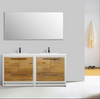 "Image of Eviva Grace 72"" Natural Oak/White Double Sink Bathroom Vanity with/ White Integrated Top EVVN765-72NOK-WH"