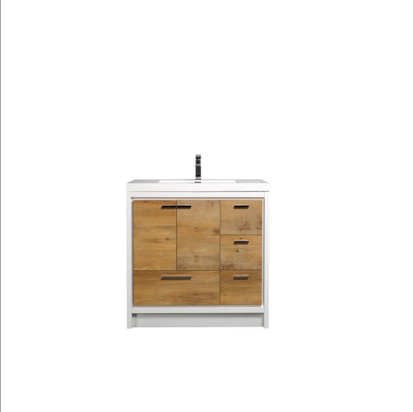 Eviva Grace 42 in. Natural Oak and White Bathroom Vanity with White Integrated Acrylic Countertop EVVN765-42NOK-WH
