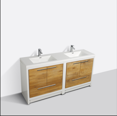 "Eviva Grace 72"" Natural Oak/White Double Sink Bathroom Vanity with/ White Integrated Top EVVN765-72NOK-WH"