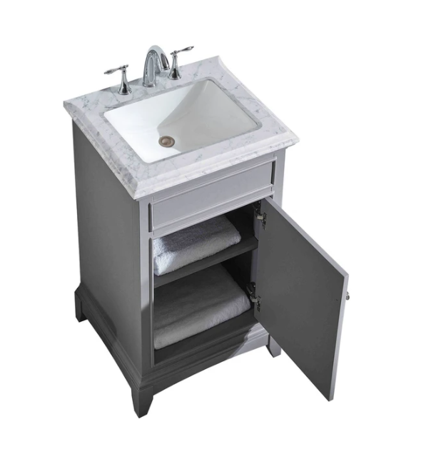 "Eviva Elite Princeton 24"" Gray Bathroom Vanity w/ Double Ogee Edge White Carrara Top EVVN707-24GR"