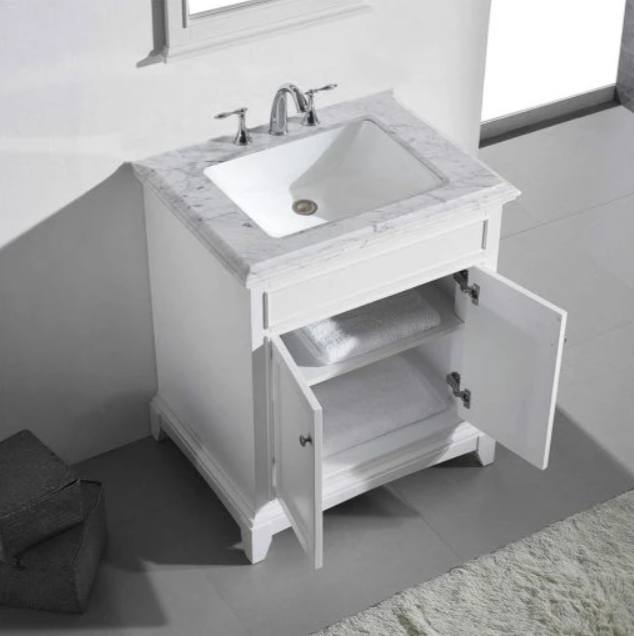 "Eviva Elite Princeton 30"" Gray Bathroom Vanity w/ Double Ogee Edge White Carrara Top EVVN707-30GR"