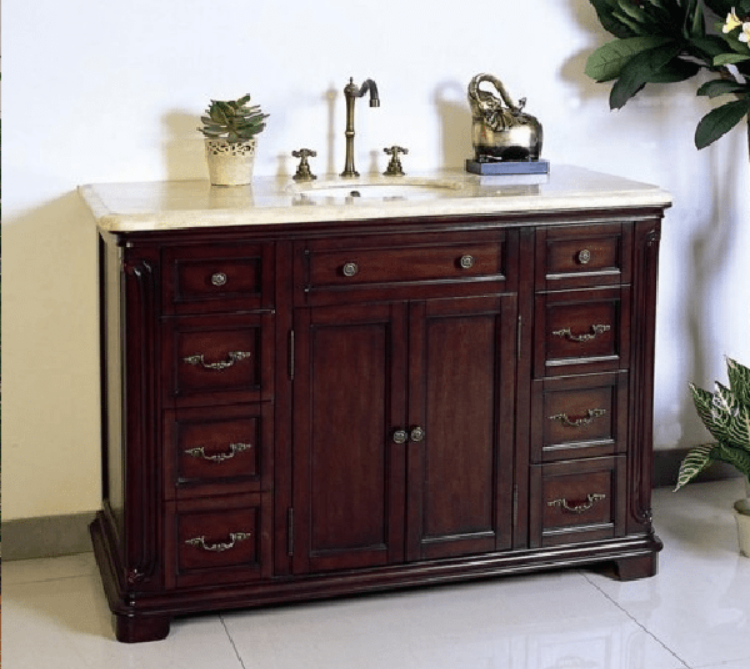 "Legion Furniture 48"" Sink Solid Wood Vanity in Dark Cherry Brown, No Faucet W5428-11-48"