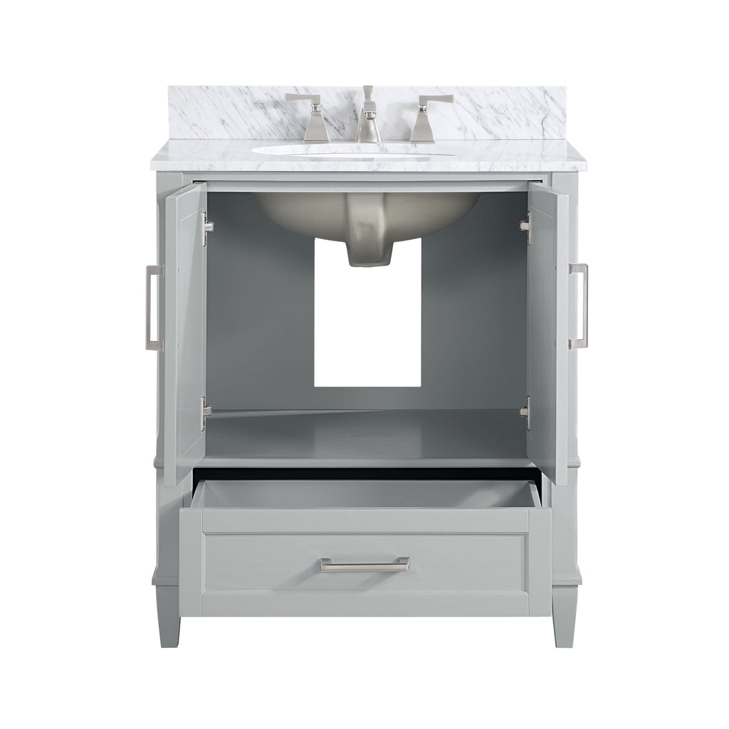 "BemmaDesign Montauk 30"" Bathroom Vanity, Grey with Carrara Marble top"