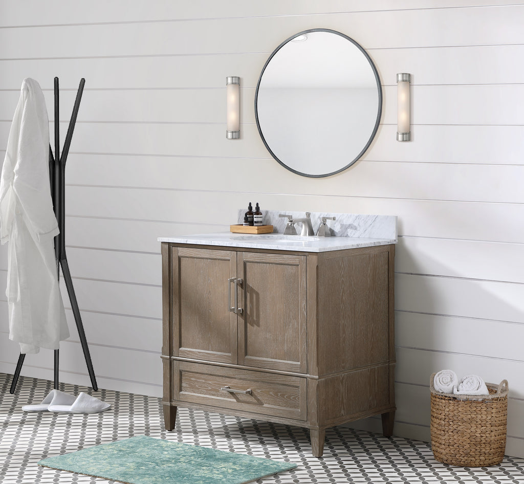 "BemmaDesign Montauk 36"" Bathroom Vanity, Light Oak with Carrara Marble top V-MT36SFM-06-M03O-3"