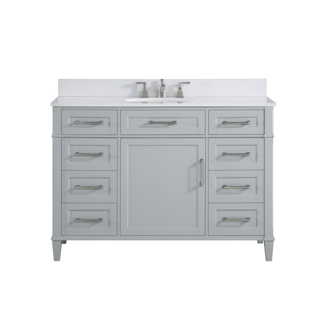 "BemmaDesign Montauk 48"" Bathroom Vanity, Grey with White Granite top V-MT48SFM-01-C03O-3"