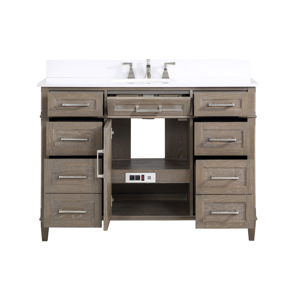 "BemmaDesign Montauk 48"" Bathroom Vanity, Light Oak with White Granite top V-MT48SFM-06-C03O-3"