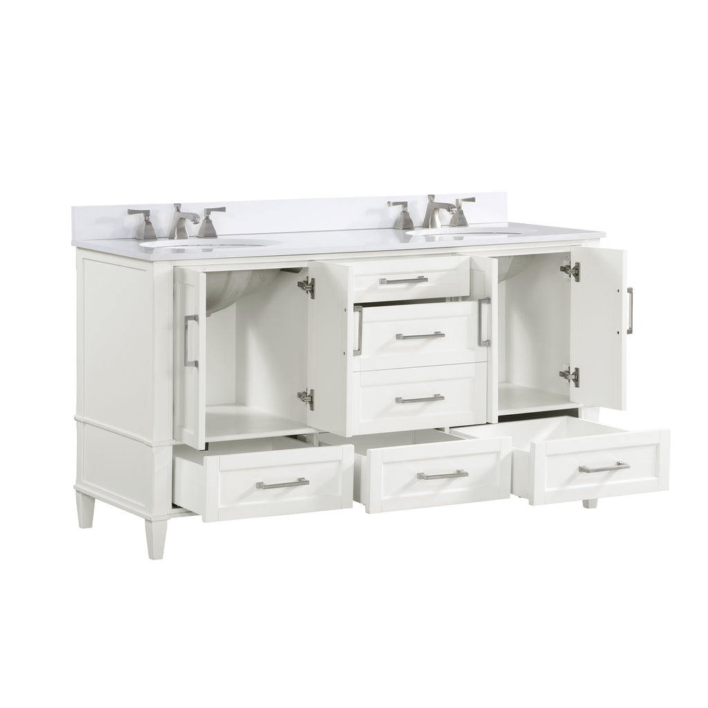 "BemmaDesign Montauk 60"" Bathroom Vanity, White with White Granite top V-MT60DFM-03-C03O-3"