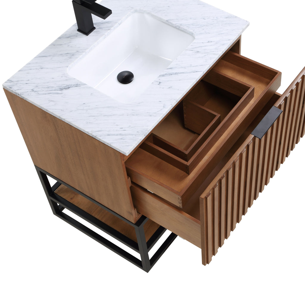 "BemmaDesign Terra 30"" Bathroom Vanity, Walnut and Matte Black with Carrara Marble top V-TR30SFM-05MB-M03S-1"