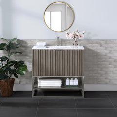 "BemmaDesign Terra 36"" Wallmount Bathroom Vanity, Greywash with White Granite top V-TR36SWM-01BN-C03S-1"