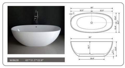 "Legion Furniture 65"" White Matt Solid Surface Tub, No Faucet WJ8628-W"