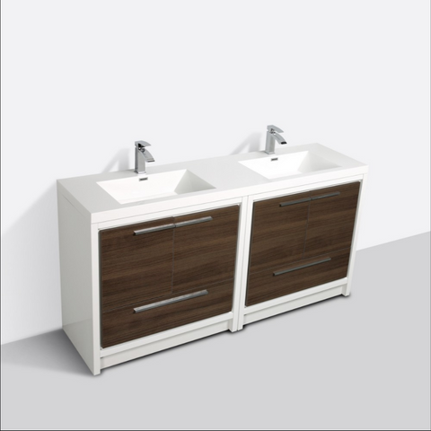 "Eviva Grace 72"" Gray Oak/White Double Sink Bathroom Vanity w/ White Integrated Top EVVN765-72GOK-WH"