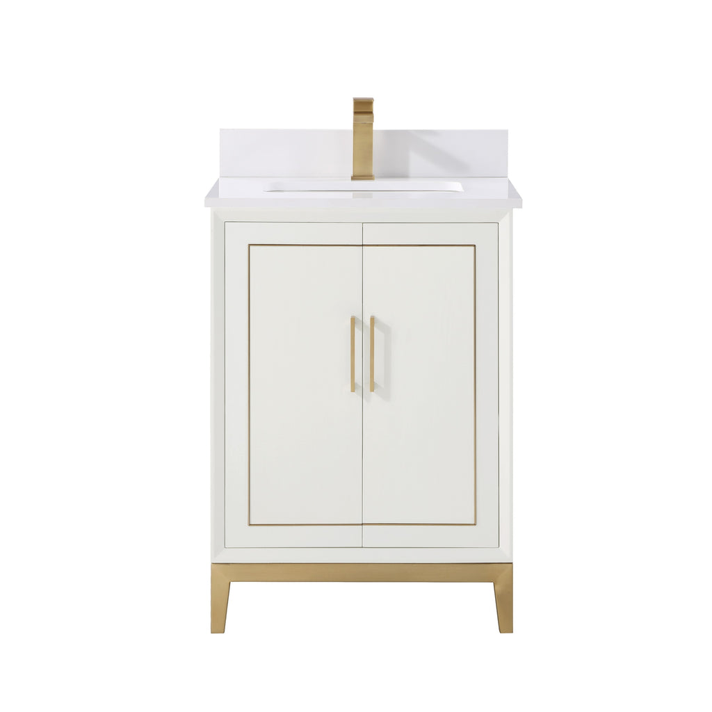"BemmaDesign Gracie 24"" Bathroom Vanity, White with White Granite top GR24SFM-03BS-C03S-1"