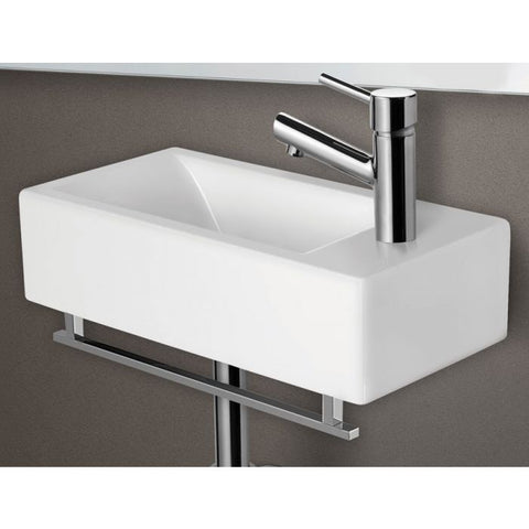 ALFI Brand Small Modern Rectangular Wall Mounted Bathroom Sink AB108