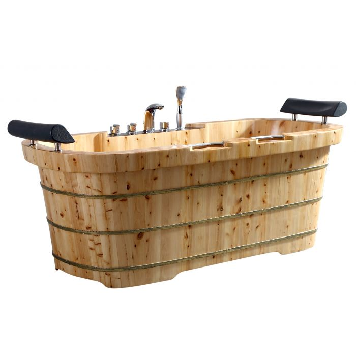 "ALFI Brand 65"" 2 Person with Fixtures & Headrests Free Standing Cedar Wooden Bathtub AB1130"