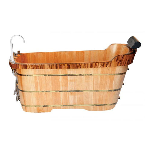 ALFI Brand with Tub Filler Free Standing Wooden Bathtub AB1148
