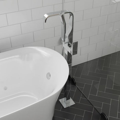 ALFI Brand with Shower Head Polished/Brushed Floor Mount Tub Filler AB2180