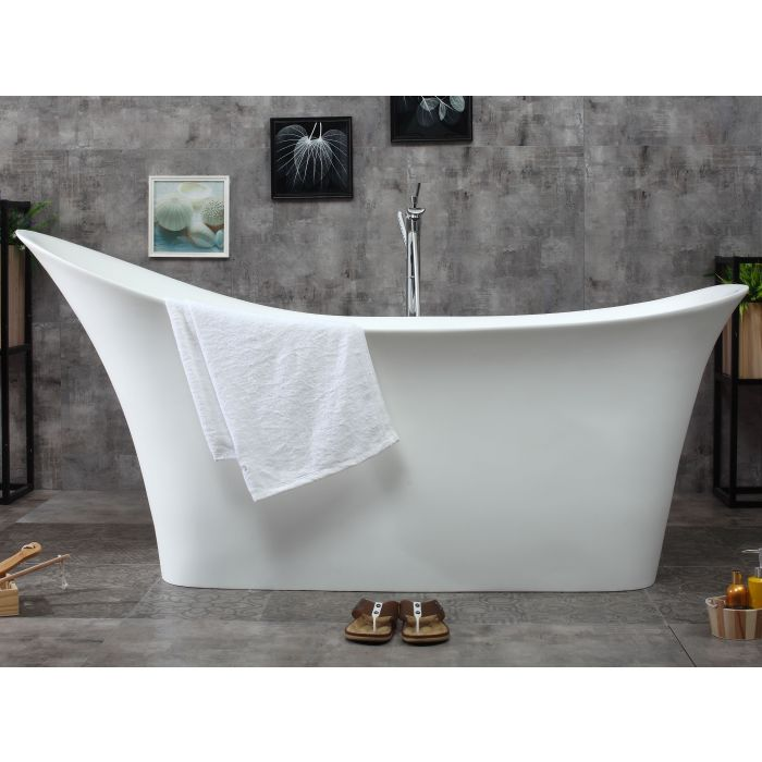 "ALFI Brand 74"" Solid Surface Smooth Resin Soaking Slipper Bathtub AB9915"