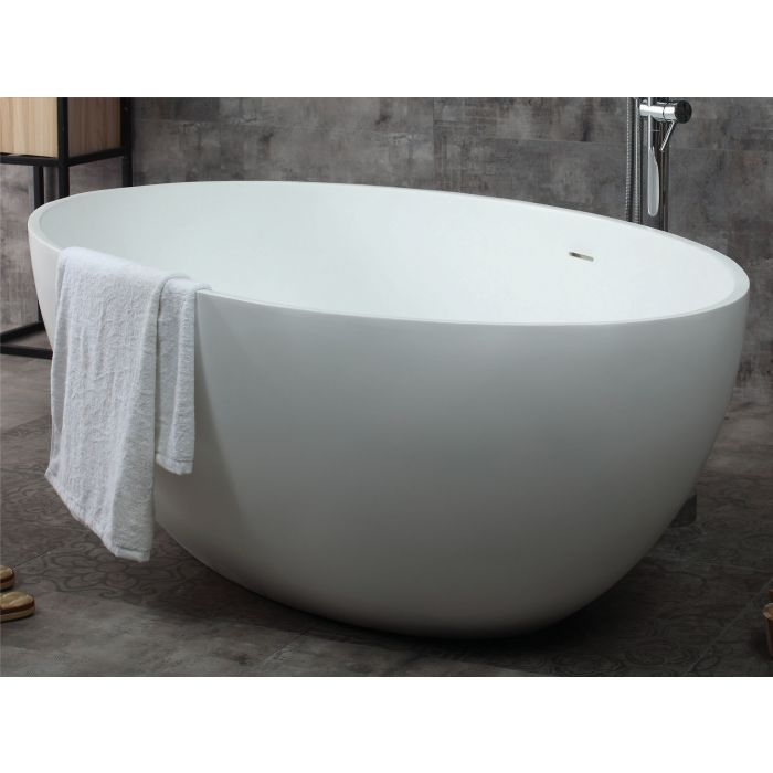"ALFI Brand 67"" White Oval Solid Surface Smooth Resin Soaking Bathtub AB9941"