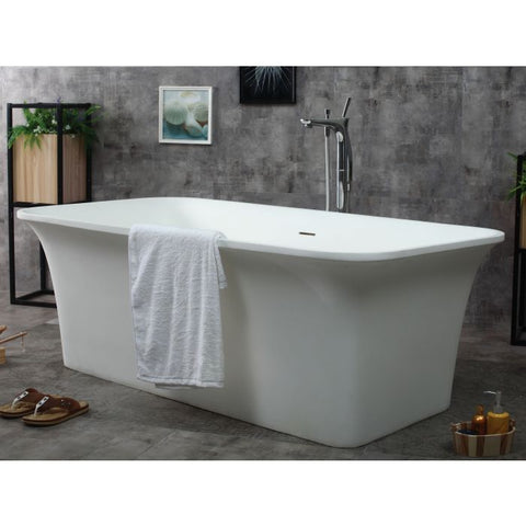 "ALFI Brand 67"" Rectangular Solid Surface Smooth Resin Soaking Bathtub AB9942"
