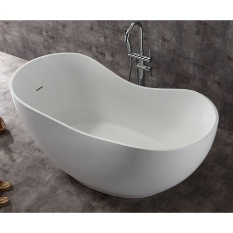 "ALFI Brand 66"" White Solid Surface Smooth Resin Soaking Bathtub AB9949"