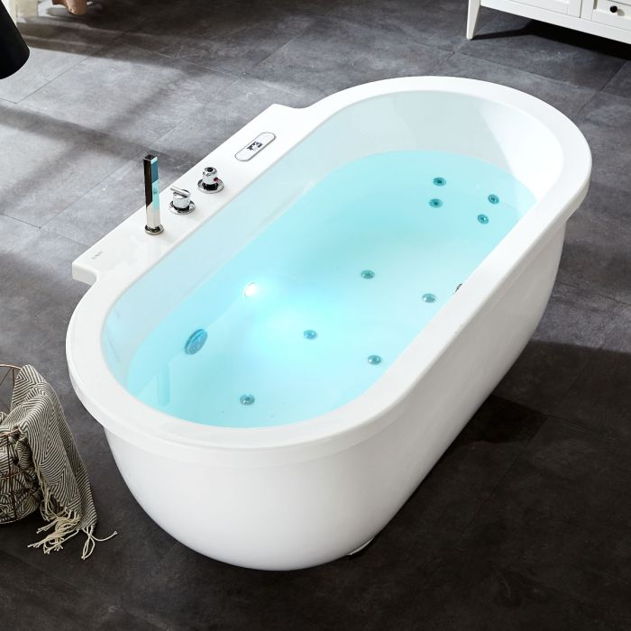 EAGO 6 ft with Fixtures Acrylic White Whirlpool Bathtub AM128ETL