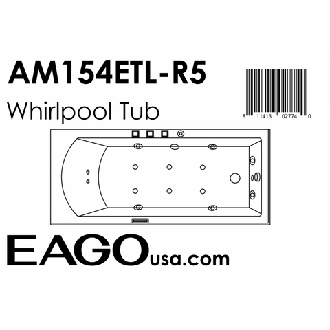 EAGO with Fixtures Acrylic White Rectangular Whirlpool Bathtub AM154ETL