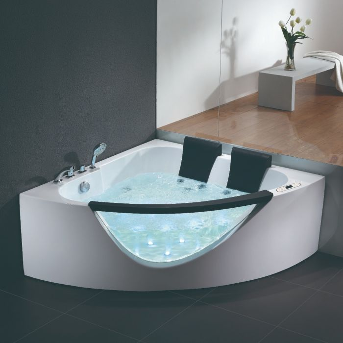 EAGO Clear Rounded Corner Acrylic for Two Whirlpool Bathtub AM199ETL