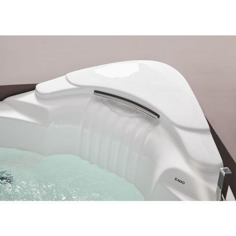 EAGO 5 ft for Two Corner Acrylic White Waterfall Whirlpool Bathtub AM505ETL