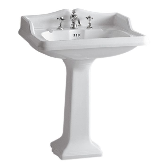 Whitehaus Traditional China Pedestal with an Integrated Oval Bowl Bathroom Sink AR834-AR805-1H