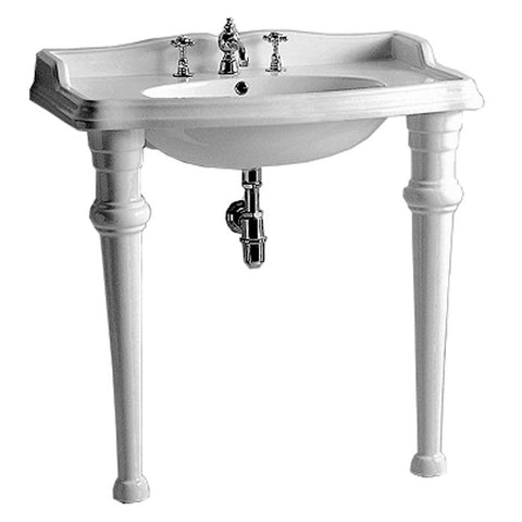 Whitehaus Large Rectangular China Console with Oval Bowl Bathroom Sink AR864-GB001-1H