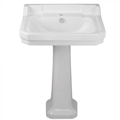 Whitehaus Traditional Pedestal with Integrated Bowl and Rear Overflow Bathroom Sink B112L-P