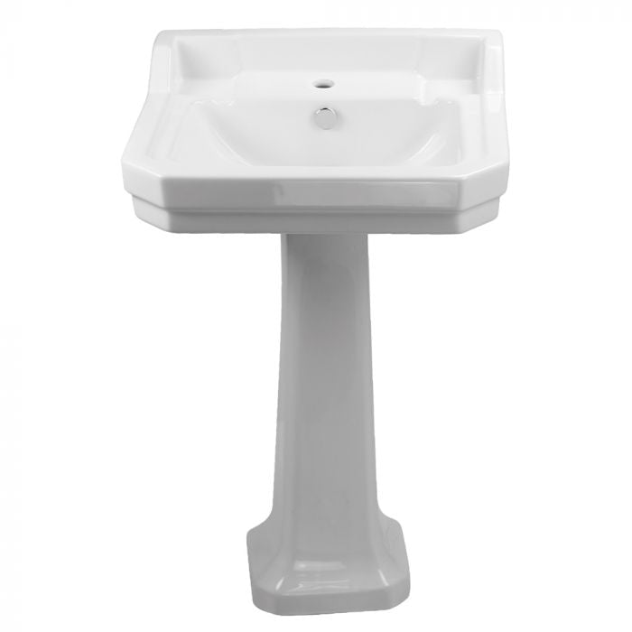 Whitehaus Pedestal with Integrated Rectangular Bowl and Overflow Bathroom Sink B112M-P