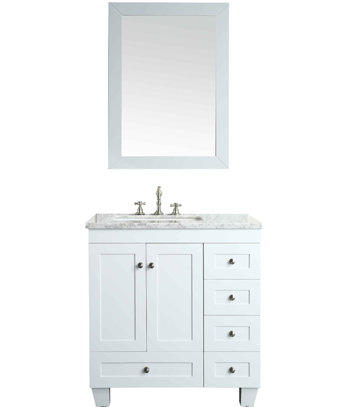 Eviva Acclaim 30″ White Transitional Bathroom Vanity w/ White Carrara Top  EVVN69-30WH