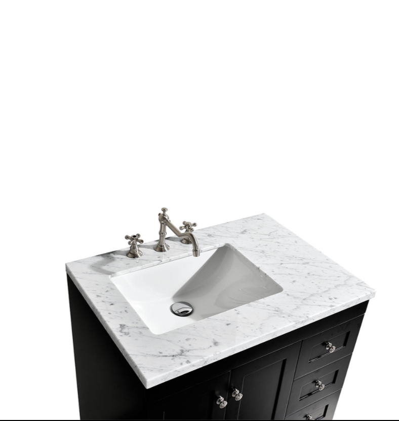 Eviva Acclaim 28″ Espresso Transitional Bathroom Vanity w/ White Carrara Top  EVVN69-28ES