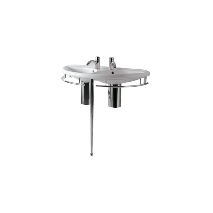 Whitehaus Semi-Circular Double Bowl Console with Leg Support Bathroom Sink ECO64-ESU04
