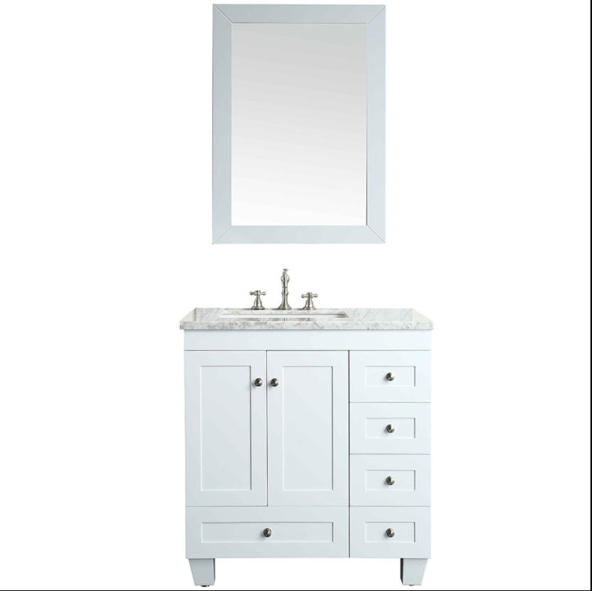 Eviva Acclaim 28″ White Transitional Bathroom Vanity w/ White Carrara Top EVVN69-28WH