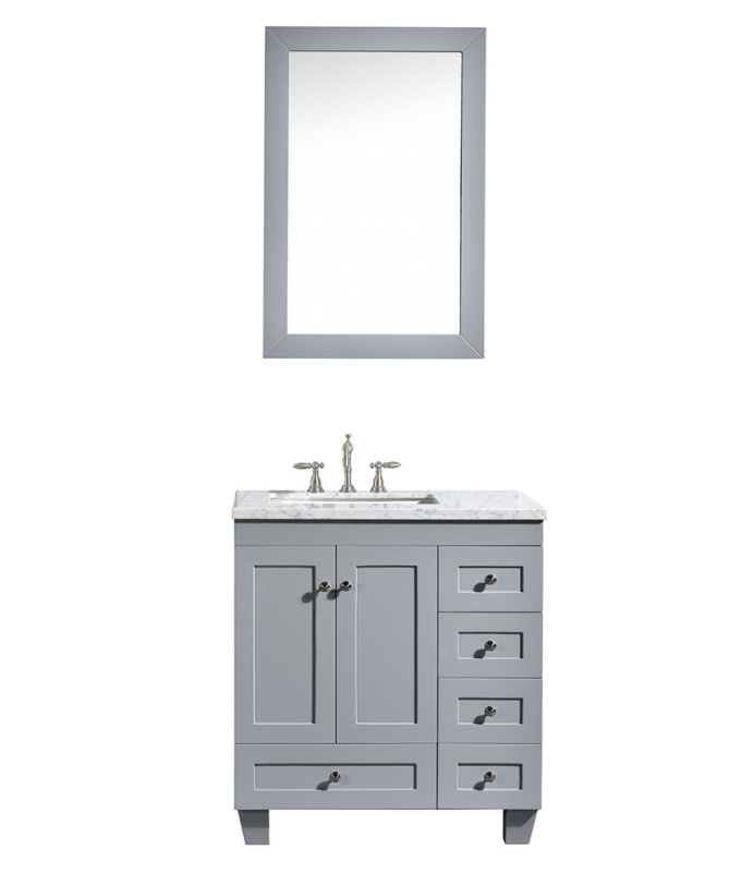 Eviva Acclaim 30″ Gray Transitional Bathroom Vanity w/ White Carrara Top EVVN69-30GR