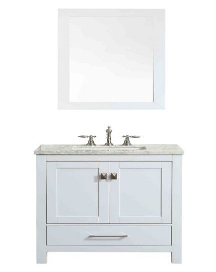 "Eviva Aberdeen 30"" White Transitional Bathroom Vanity w/ White Carrara Top EVVN412-30WH"