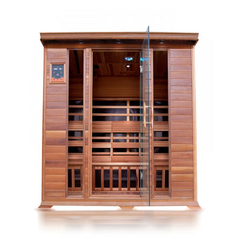 Sunray Sequoia 4 Person Cedar Infrared Sauna w/Carbon Heaters HL400K