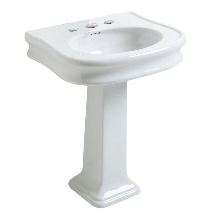 Whitehaus Traditional Pedestal with Integrated Oval Bowl and Rear Overflow Bathroom Sink LA10-LA03-1H