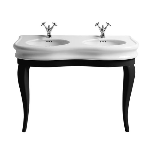 Whitehaus Double Bowl Basin China Console with Oval bowls Bathroom Sink LA12-LAM120B