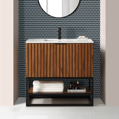 "BemmaDesign Terra 36"" Bathroom Vanity, Walnut and Matte Black with Carrara Marble top V-TR36SFM-05MB-M03S-1"