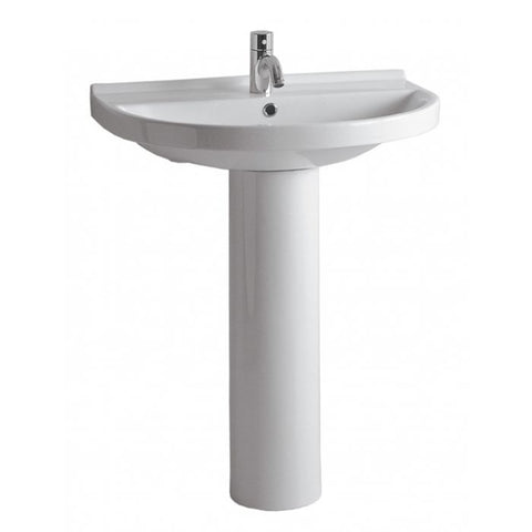 Whitehaus White Porcelain U Shape Pedestal Bathroom Sink LU014-LU005-1H