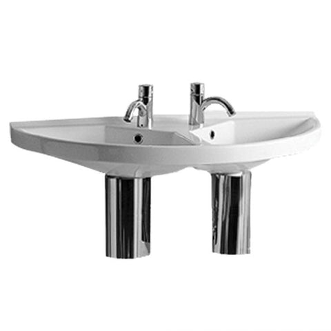 Whitehaus China Series Large U-Shaped Wall Mount Double Basin With Chrome Overflows Bathroom Sink LU020