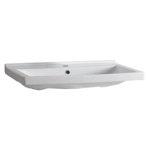 Whitehaus White Porcelain Rectangular Wall Mount Basin Bathroom Sink LU024-1H